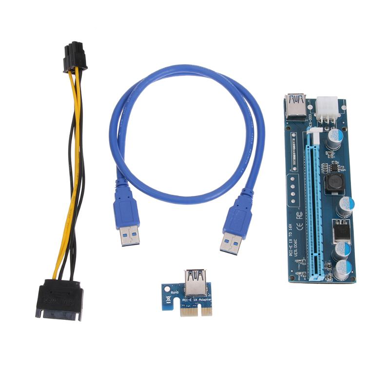 PCI-E PCI Express 1X to 16X Extender Riser Card Adapter + 60cm USB 3.0 Cable and SATA 15pin Male to 6pin Power Cable for Mining new usb3 0 008s pci e riser express 1x 4x 8x 16x extender riser adapter card sata 15pin to 6pin power cable dual power interface