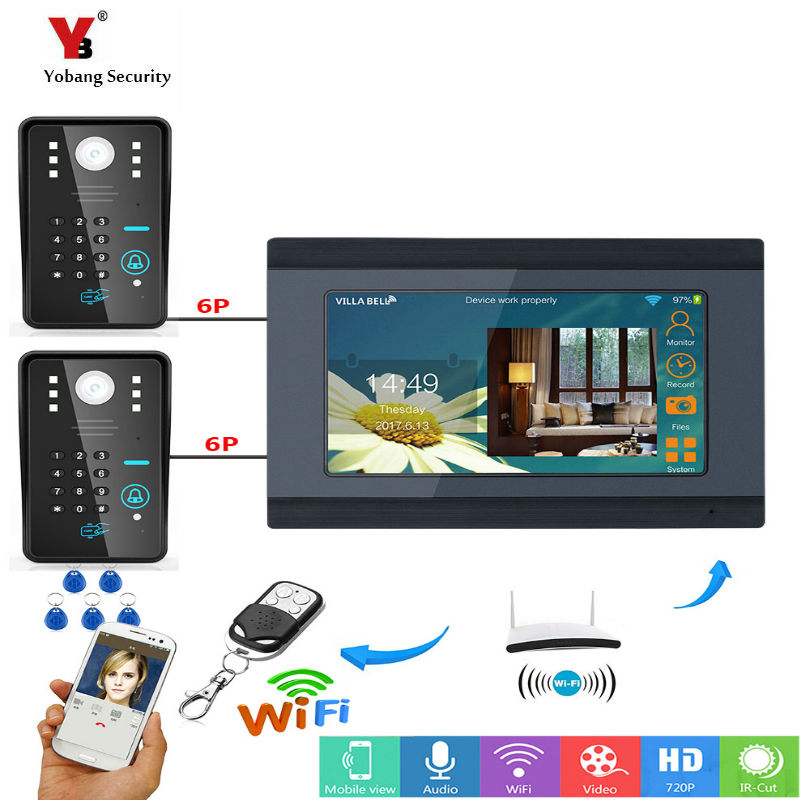 Yobang Security 7inch Wired/Wifi RFID Password Video Door Phone Doorbell Intercom Entry System with 2 X IR Wired CameraYobang Security 7inch Wired/Wifi RFID Password Video Door Phone Doorbell Intercom Entry System with 2 X IR Wired Camera