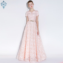 Ameision 2019 Elegant Lace Evening Dress Simple Sleeveless Small Flowers Prom Long Party Gown