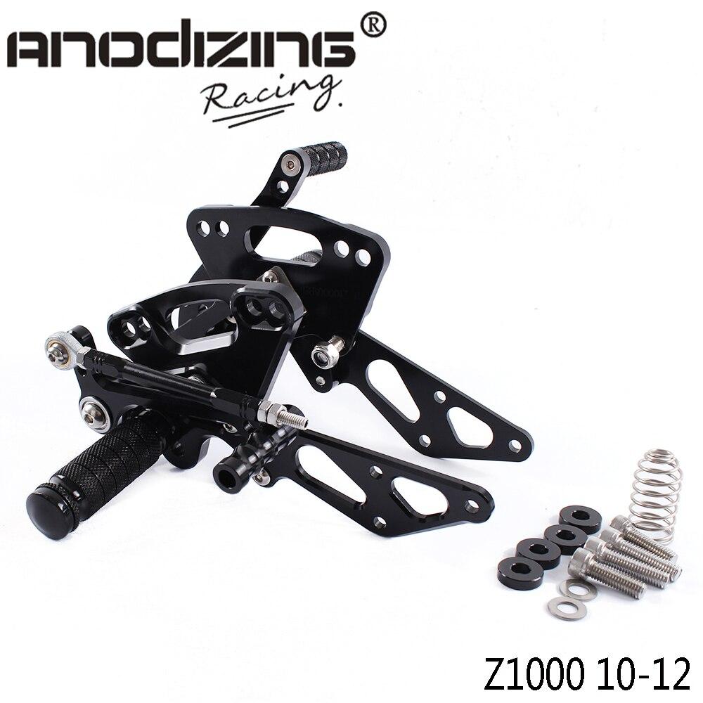 Full CNC Aluminum Motorcycle Adjustable Rearsets Rear Sets Foot Pegs For KAWASAKI Z1000 NON-ABS 2010-2012