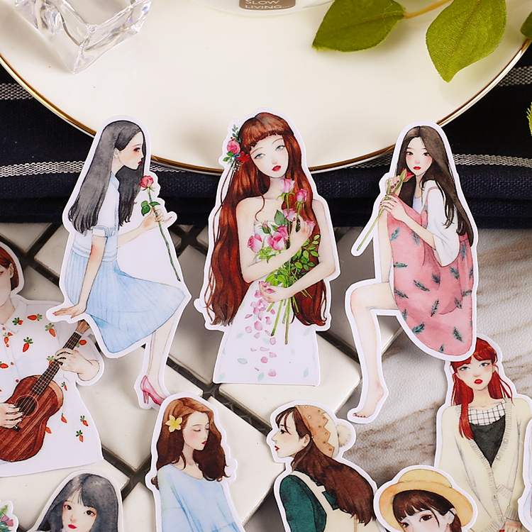 15pcs Creative Cute  Self-made the flower girl Scrapbooking Stickers /Decorative Sticker /DIY Craft Photo Albums 14pcs creative kawaii lovely cute self made victoria rabbit animal stickers trolley case computer notebook stickers luggage