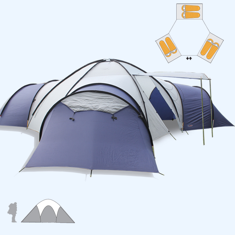 Big Camping tent 8-10 people 3 rooms Anti-rainstorm Family Travel Tent Can be used as Awning Special offer NO inner tent and mat thermo operated water valves can be used in food processing equipments biomass boilers and hydraulic systems