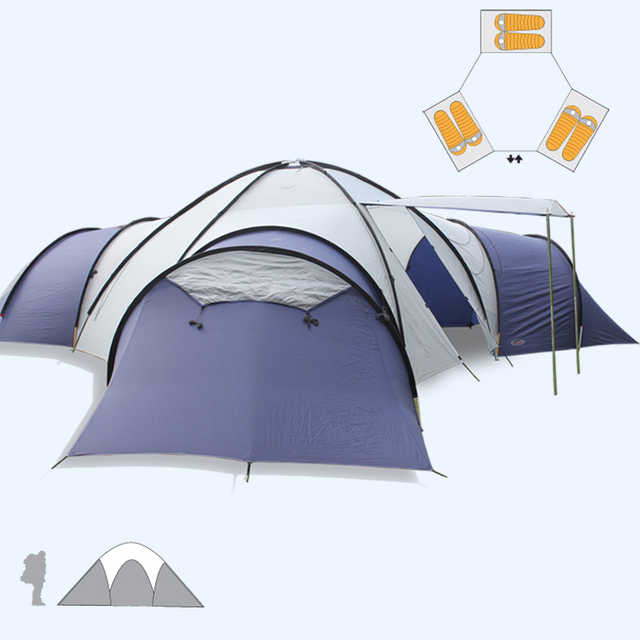 Big C&ing tent 8-10 people 3 rooms Anti-rainstorm Family Travel Tent Can : tent for 10 people - memphite.com