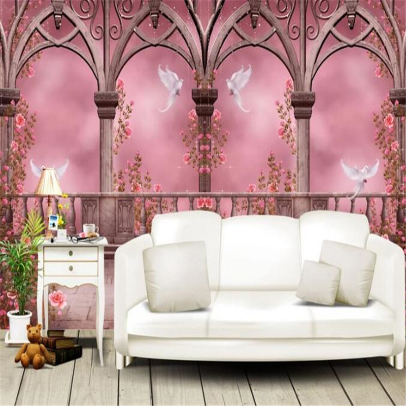 Classic Wallpapers Photo Mural Pink Palace Wallpaper Roll 3D Rose ...
