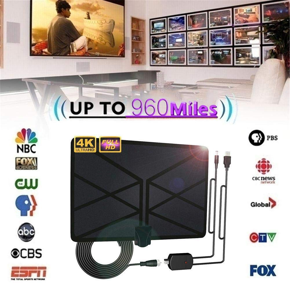 TV Aerial Indoor Amplified Digital HDTV Antenna 4K HD DVB-T Freeview TV for Local Channels Broadcast Home Television 960 Miles