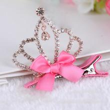 High Quality  Hair Accessories Fashion Baby Girls Children Shiny Crown Princess Rabbit Ears Crystal Hair Clip  недорого