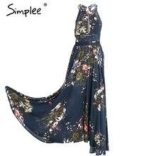 Simplee lace up halter floral longo dress mulheres verão 2017 chic backless evening partido maxi dress oco out sexy dress vestidos(China (Mainland))