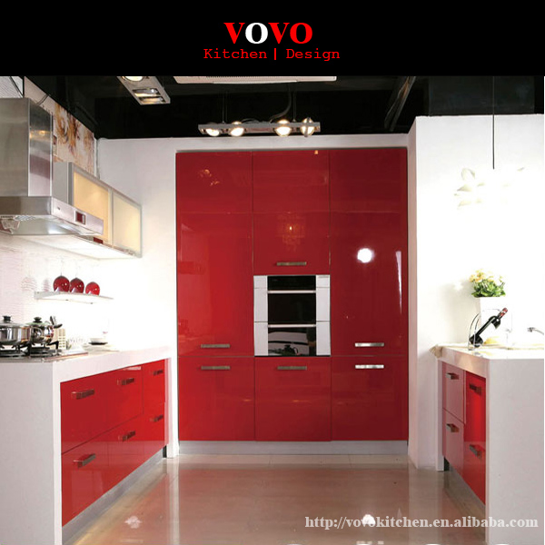 High Gloss Red Kitchen Cabinet With Acrylic Door