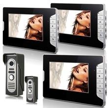 Video Doorbell 7″Inch Color TFT LCD Video Door Phone Doorbell Intercom Night Vision Home Security Kit 2 Camera 3 Monitor