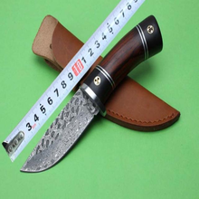 The forging of Damascus Steel Black Warrior knife Red rosewood and ebony handle collection high hardness knives