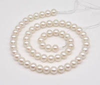 AAA Top Quality White Pearl Jewellery,7 7.5MM Goold Luster Natural Freshwater Pearls Loose Bead,One Full Strand,Free Shipping