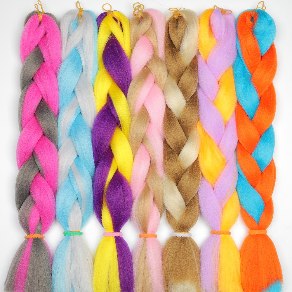 MERISIHAIR 24inch Ombre  Synthetic Crochet Hair Extensions Jumbo Braids Hairstyles Pink  Red Blue Braiding Hair