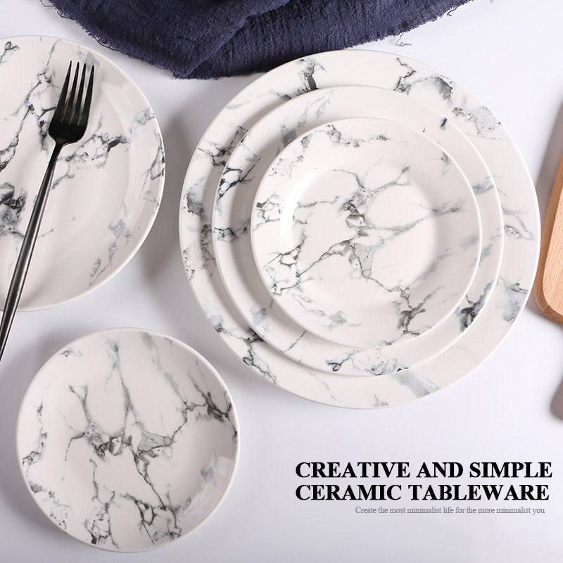 3 Pcs Set 6 8 10 Inches Porcelain Flat Plate Sets Marble Dishes Ceramic Western Dinner Food
