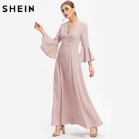 SheIn Lace Up Front Flare Sleeve Long Dresses Pink V Neck Long Sleeve Maxi Dress Autumn