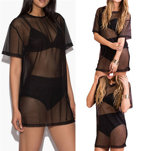 Sexy Women Bikini Cover Up Swimwear Lace See-Through Bikini Cover Up Beach Black Swimsuit Bathing Suit Cover Ups