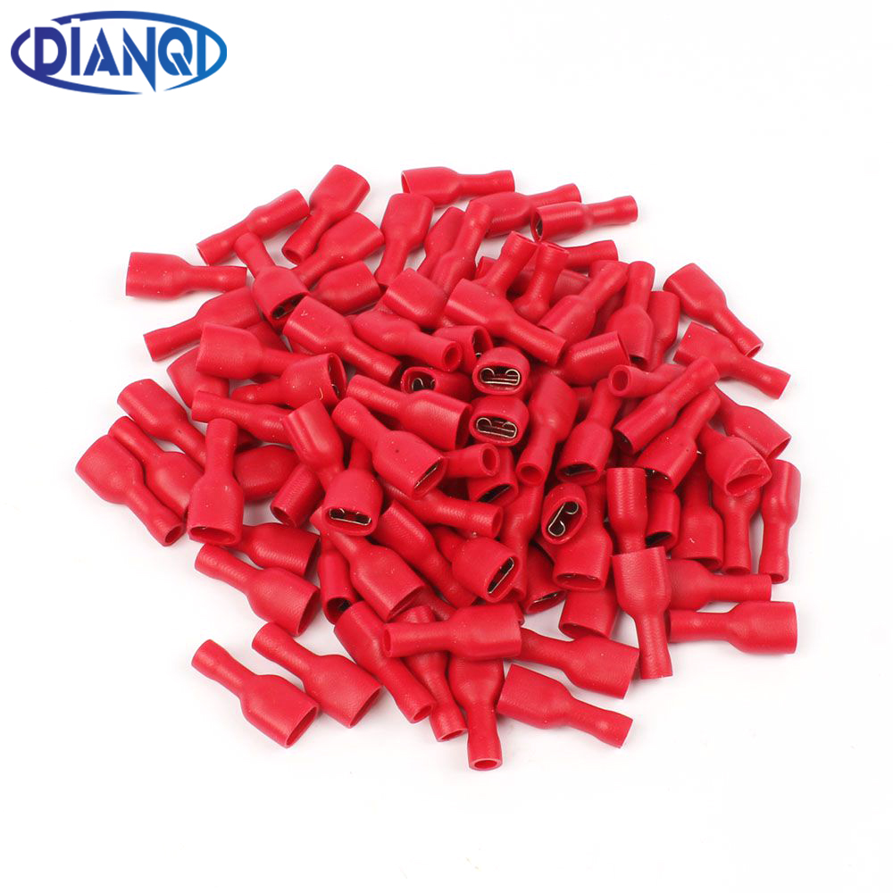 FDFD1-250 FDFD1.25-250 insulating Female Insulated Electrical Crimp Terminal Connectors Cable Wire Connector 100PCS/Pack FDFD fdd2 250 female insulated electrical crimp terminal for 1 5 2 5mm2 connectors cable wire connector 100pcs pack fdd2 5 250 fdd