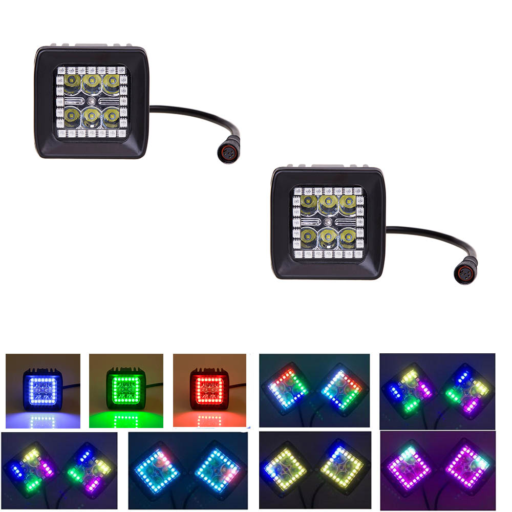 Nicoko 18W CreeLED Work Light With Chasing RGB Halo 72 Modes For Tractor Truck 4x4 SUV