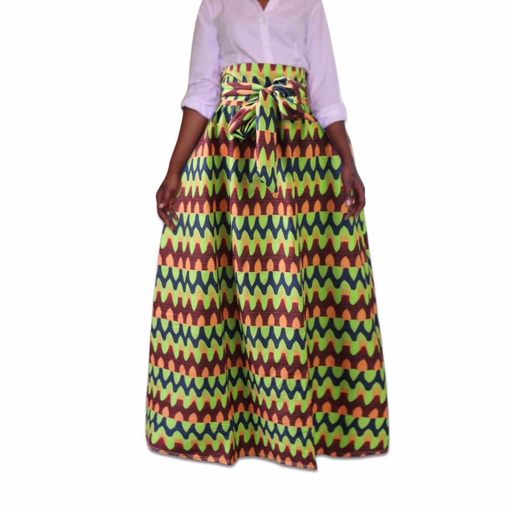 African women skirt printed design big size pleated skirt  with waistbelt BM1923