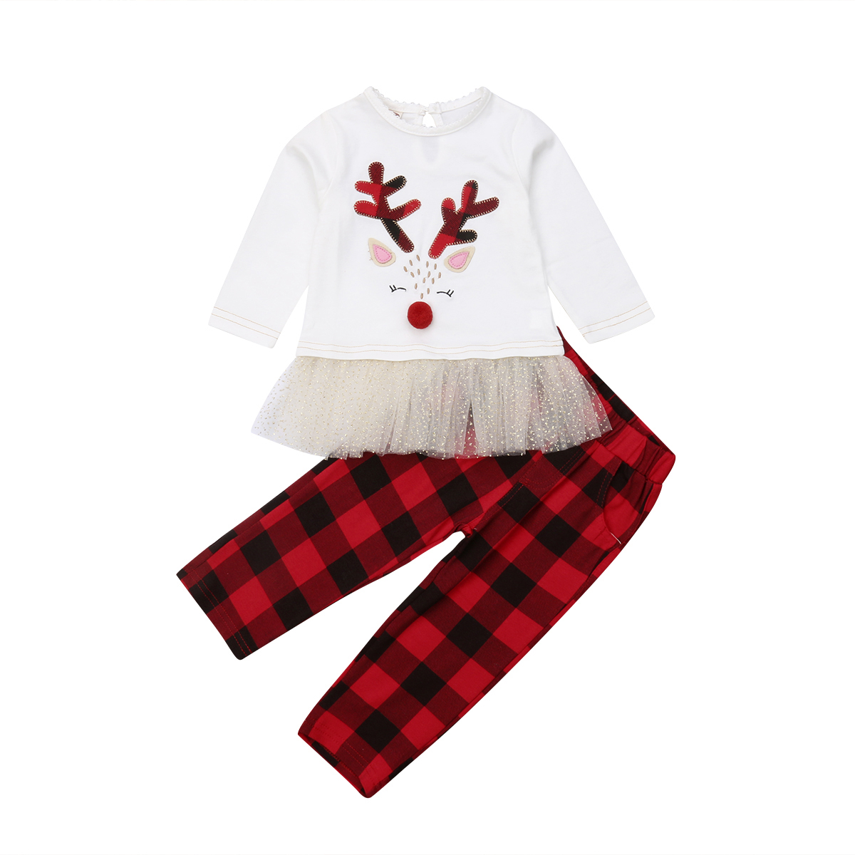 2PCS Toddler Kids Baby Girls Long Sleeve Tops Plaid Pants Outfits Clothes Sets