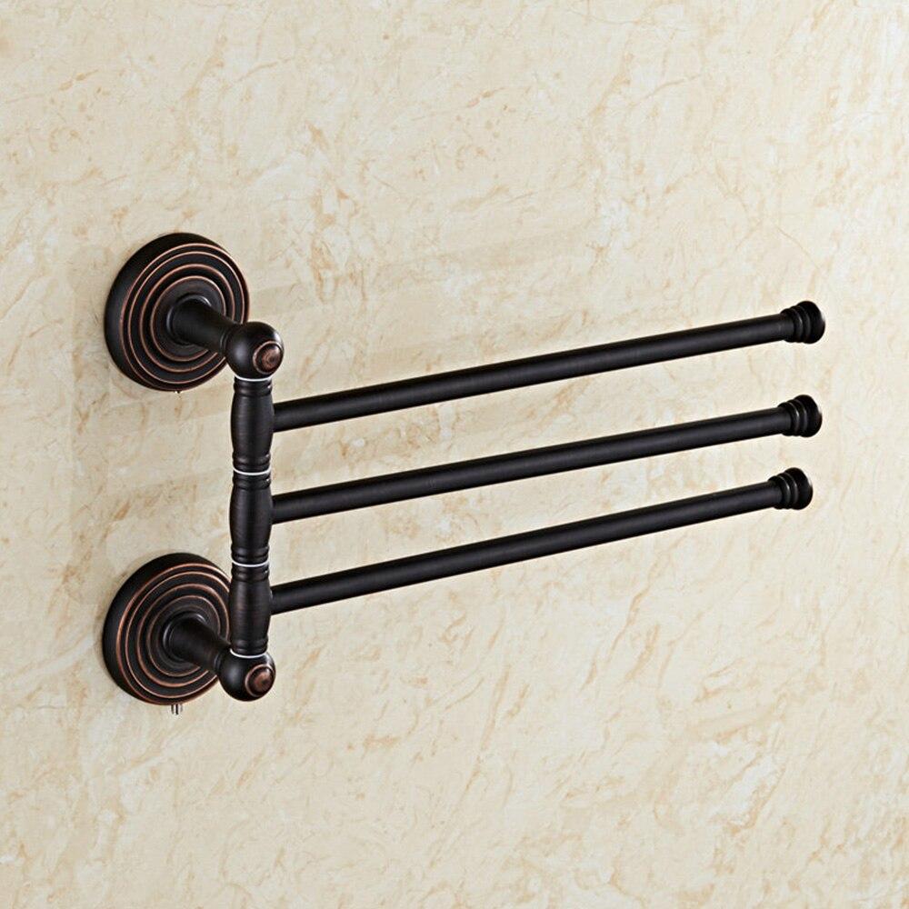 Bathroom wall mounted chrome brass towel rack shelf towel bar w hooks - Antique Black Towel Rail Brass Double Towel Bar Move Towel Rack Bathroom Towel Rails Bathroom Accessories