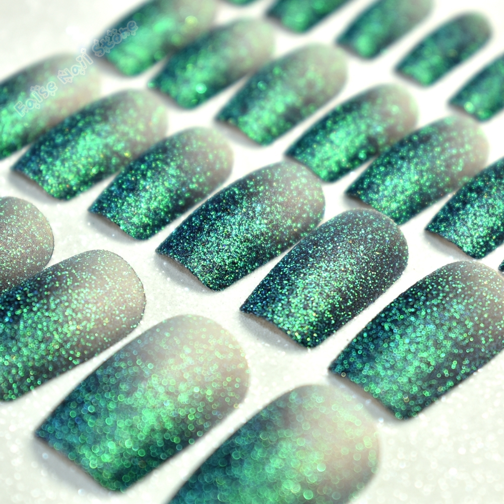 Glitter Dark Green Flat False Nails Gradient Holographic Full Cover ...