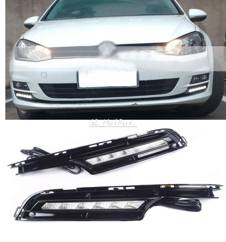 2x LED Daytime Running Light Perfect Fit For Volkswagen VW Golf 7 MK7 DRL Fog Lamp 2014-2016 eouns led drl daytime running light fog lamp assembly for volkswagen vw golf7 mk7 led chips led bar version
