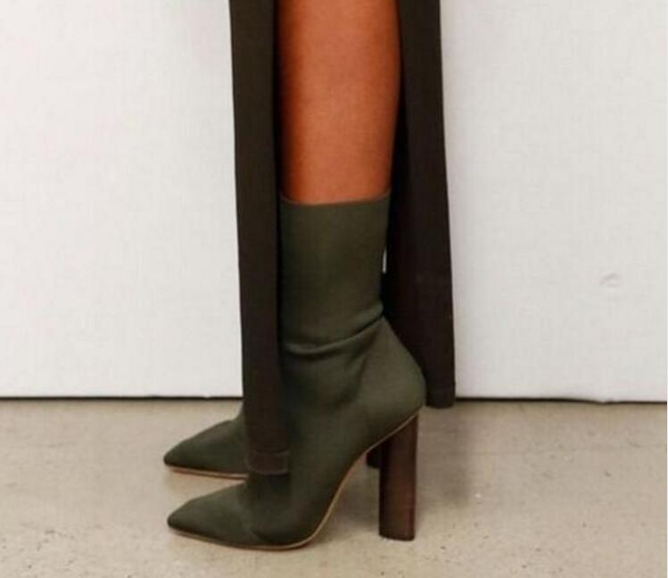 Sexy Stretch Knit Ankle Boots Kim Kardashian Style Block Heels Short Boots Pointed Toe 11CM High Heels Women Boots