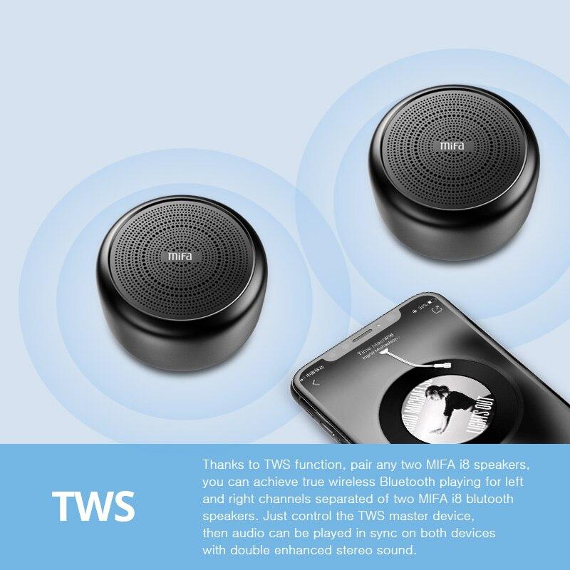 Mifa I8 Portable Tws Bluetooth Speaker Handfree Call Aluminium Alloy Multicolor Body Mini Mic Wireless Bluetooth 4.2 Speakers Portable Speakers