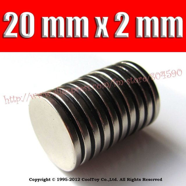 10 / Pack F&P WholeSale Craft Model Super Powerful Strong Rare Earth Disc NdFeB Magnet Neo Neodymium N35 Magnets 20 x 2 mm