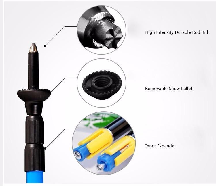 Pioneiro caminhadas bengala ultra-leve fibra de carbono