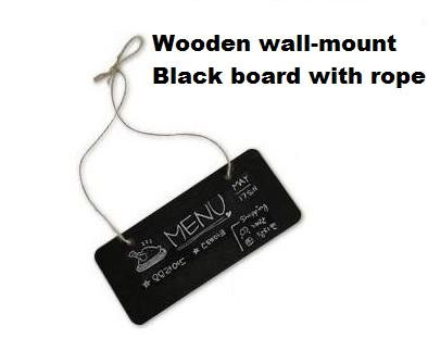 1pcs/lot Cute DIY Multifunction Wooden Mini Wall-mount Black Board Message Memoo Board With Rope Retail
