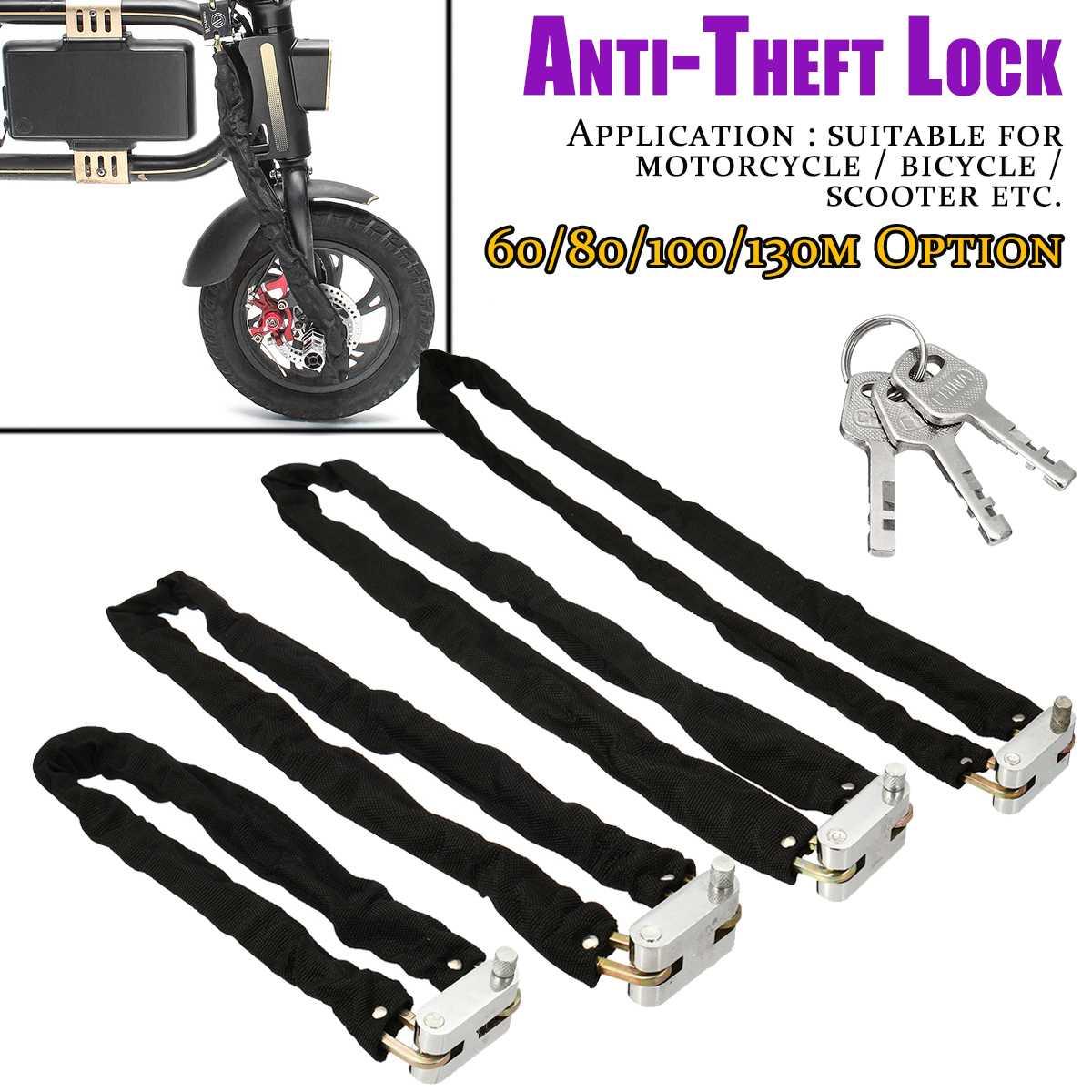1.3m Bike Chain Lock Motorcycle Lock Heavy Duty Anti-Theft Metal Bicycle Padlock