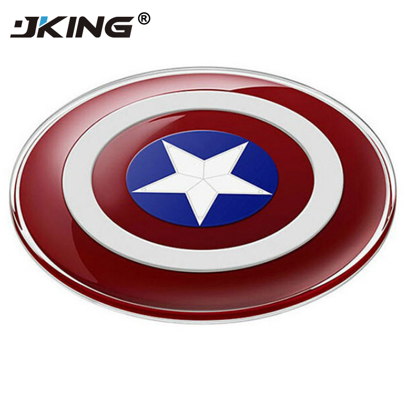 JKING Avengers Universal QI Wireless Charger for iPhone X 8 for Samsung Galaxy S7 S6 S8 edge Captain America Shield Charging Pad