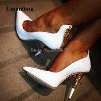 Модная брендовая женская обувь с острым носком белый узор кожи на шпильке туфли-лодочки на каблуке Молния сзади-up красные, черные модельные ...