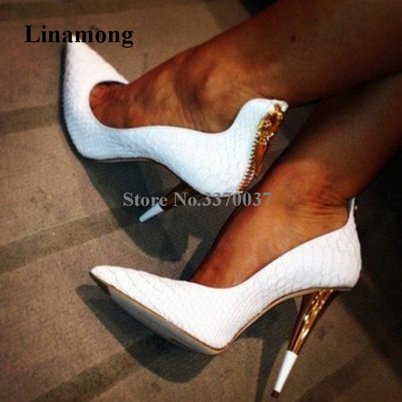 Fashion Brand Women Pointed Toe White Pattern Leather Stiletto Heel Pumps Back Zipper-up Red Black High Heels Dress Shoes summer autumn fashion ankle wrap back zipper pointed toe stiletto heel pumps concise strappy crisscross sueded high heels