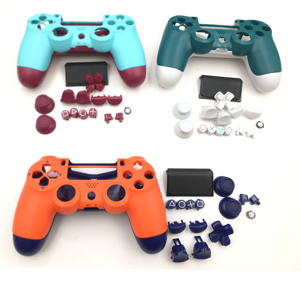 Berry Blue & Sunset Orange Housing Shell Cover Button Kits Replacement For PS4 Pro Slim 4.0 JDS 040 Controller
