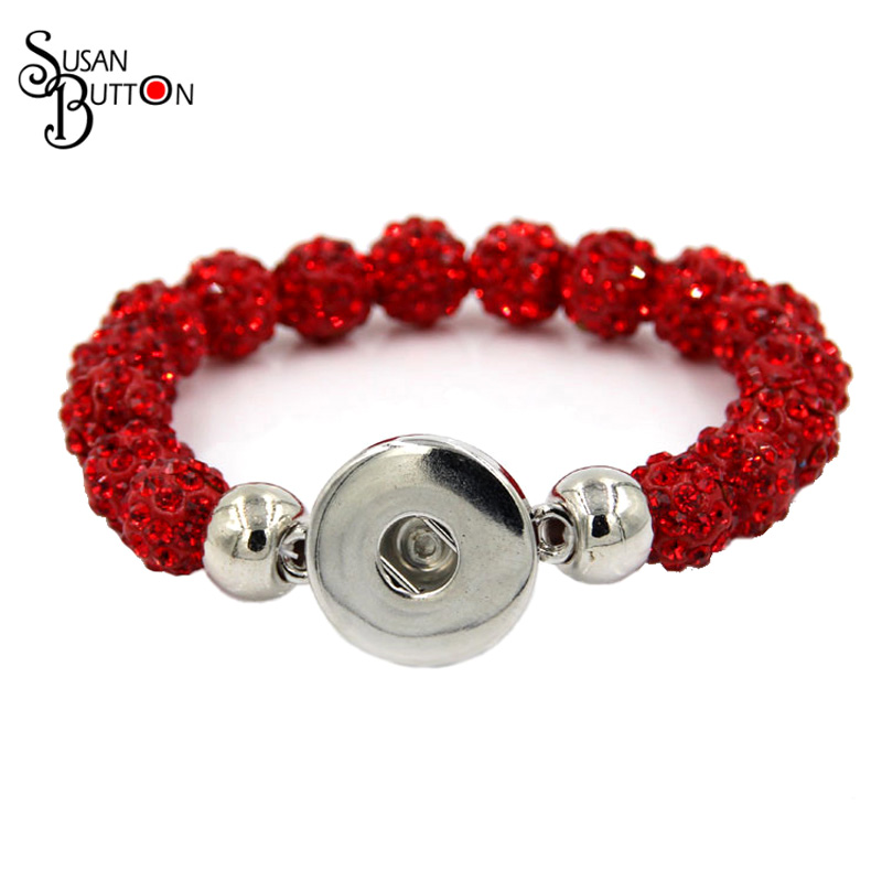 5pcs Red Crystal Shamballa Bead snap charms Rhinestone Diamante Stretch  Elastic Bracelet for 18mm snap button jewelry SJSB059 19a9a97e2a6b