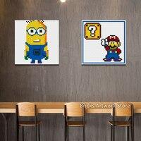 Creative Pixel Art Mosaic Painting Set DIY Gift Jack Skellington Batman Minions Super Mario Portrait Building Blocks toy 40*40CM