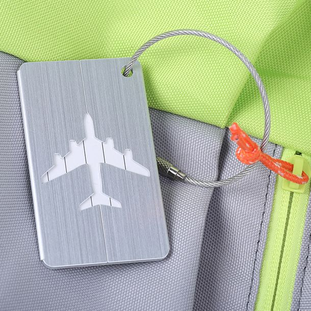 FGGS New Aluminium Travel Luggage Baggage Tag Suitcase Identity Address Name Labels(Silver)