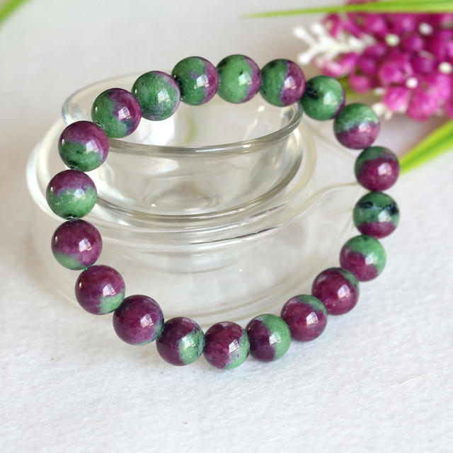 High Quality Natural Genuine Half Red And Green Ruby Zoisite Finished Stretch Bracelet Round Loose Beads