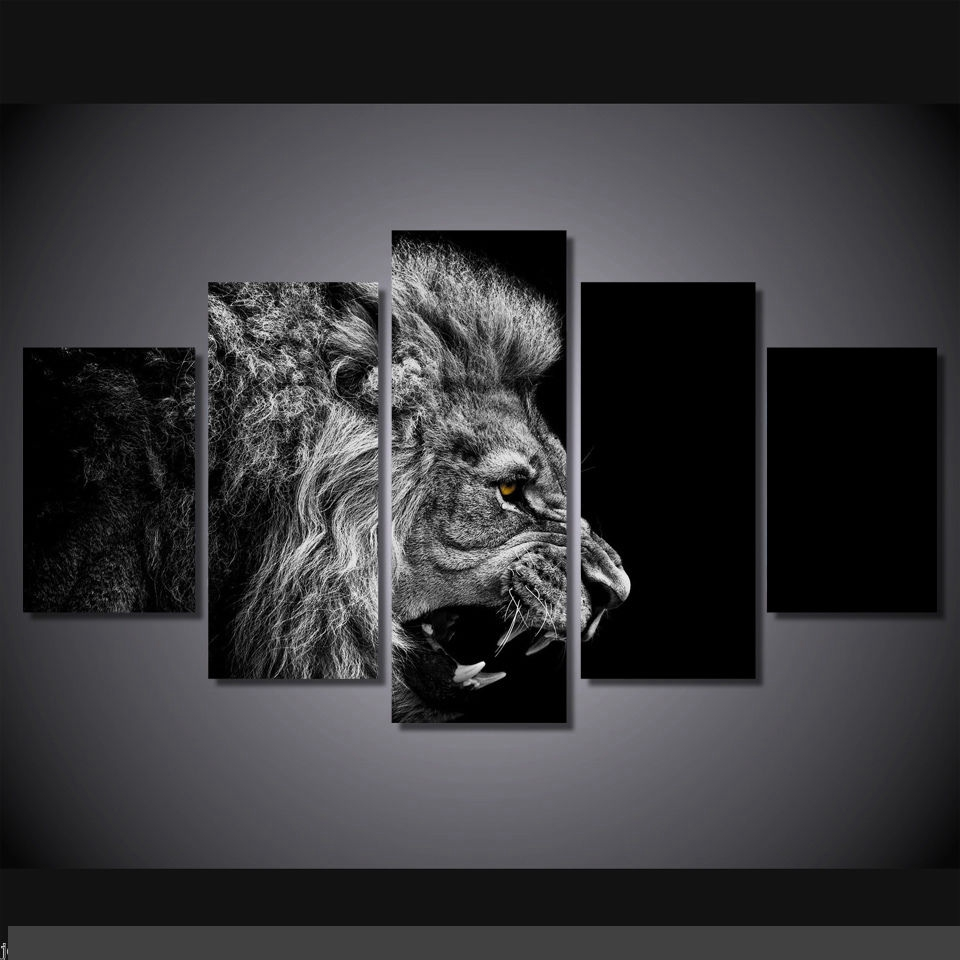 Art Abstract Indoor Decor 20x35cmx2,20x45cmx2,20x55cm Lion black and white art print poster canvas 5 pieces