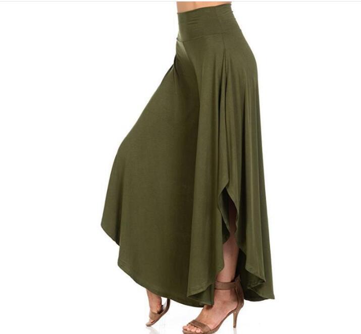 Elegant Vintage Irregular Ruffles   Wide     Leg     Pants   Women High Waist Pleated   Pants   Femme Casual Loose Streetwear Trousers