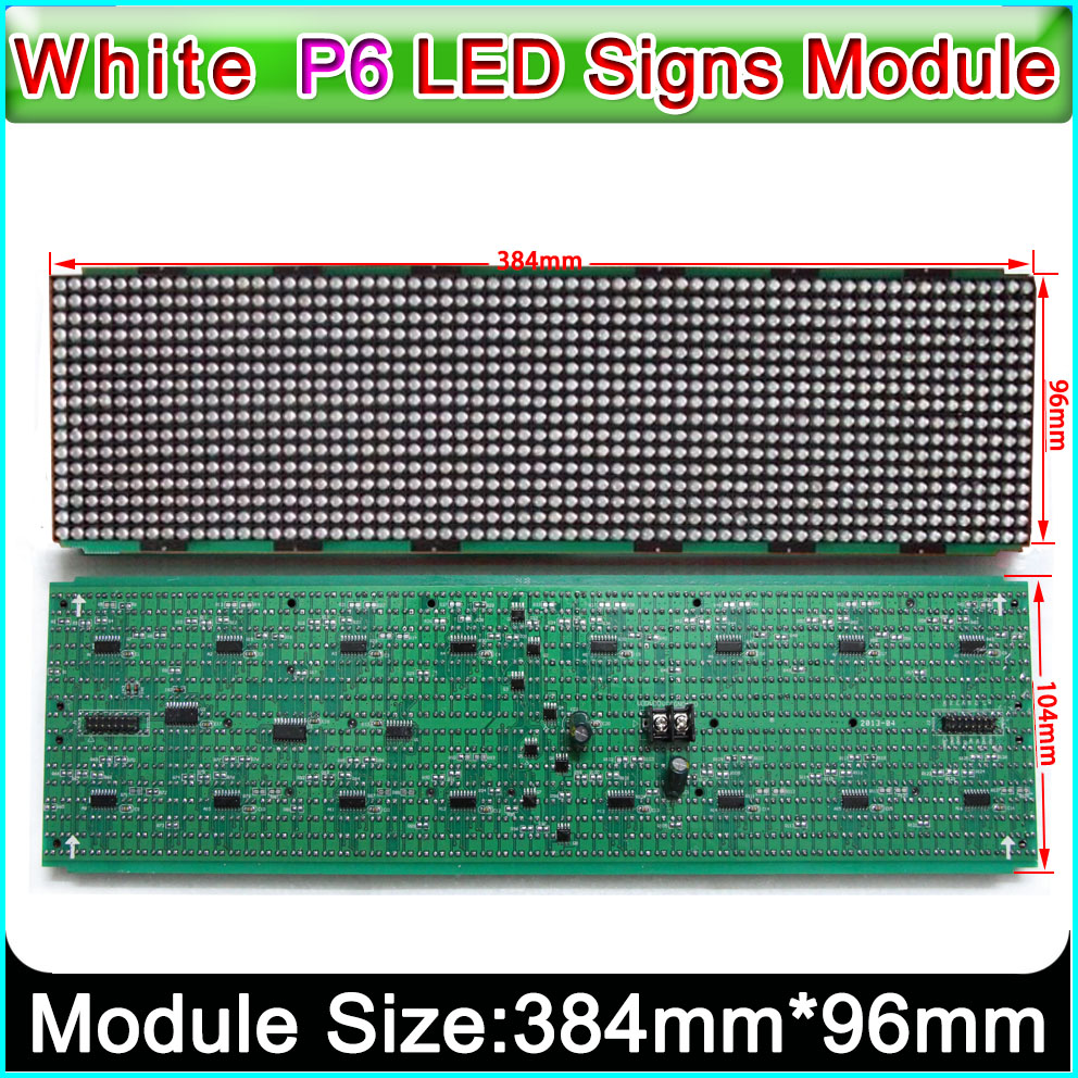 DIP 446 LED lamp P6 wihte color semi-outdoor car/bus led sign modules 384*96mm, LED scroll information sign Taxi display Module