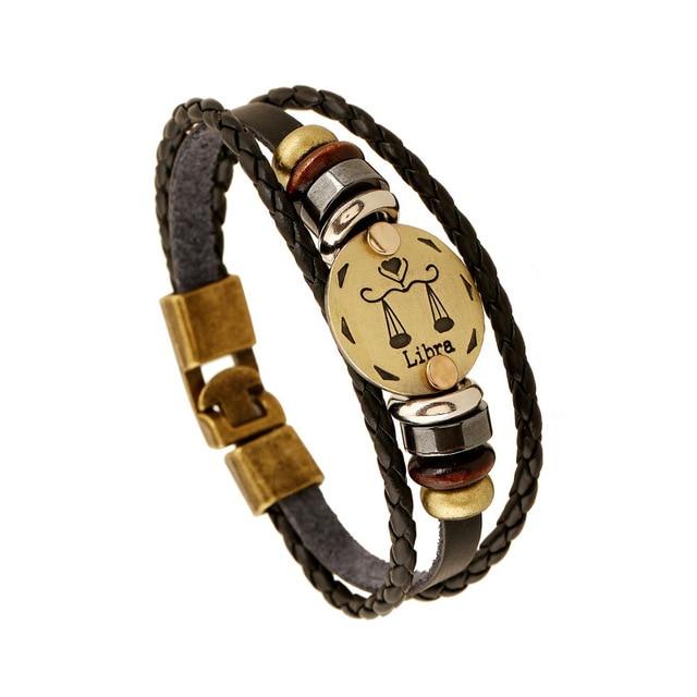 Handmade Justice Libra 12 Constellations Bracelets Leather Women Cuff Bracelet Vintage Bronze Alloy Clic Charm