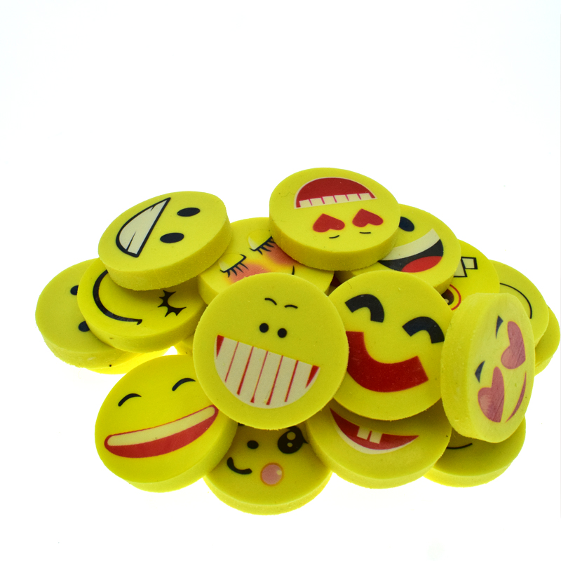 20 Pcs/lot Smile Face Erasers Rubber For Pencil Kid Funny Cute Stationery Gift Novelty Eraser School Supplies Joy Corner