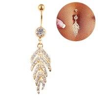 Fir Leaf Rhinestone Belly Button Navel Bar Ring Barbell Body Piercing Jewelry