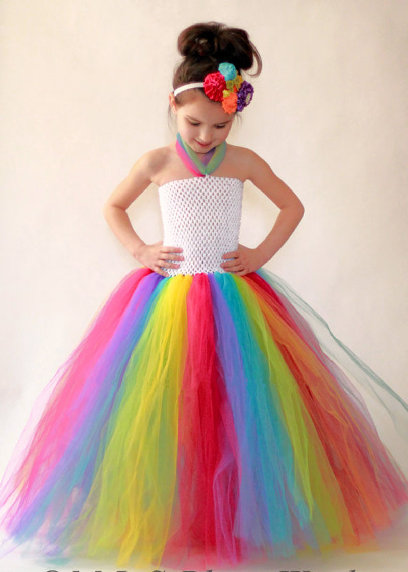 все цены на Brief Baby Girls Rainbow Tutu Dress For Birthday Wedding Festival Photo Kids Summer Dresses Girl Party Costume Photo Props онлайн