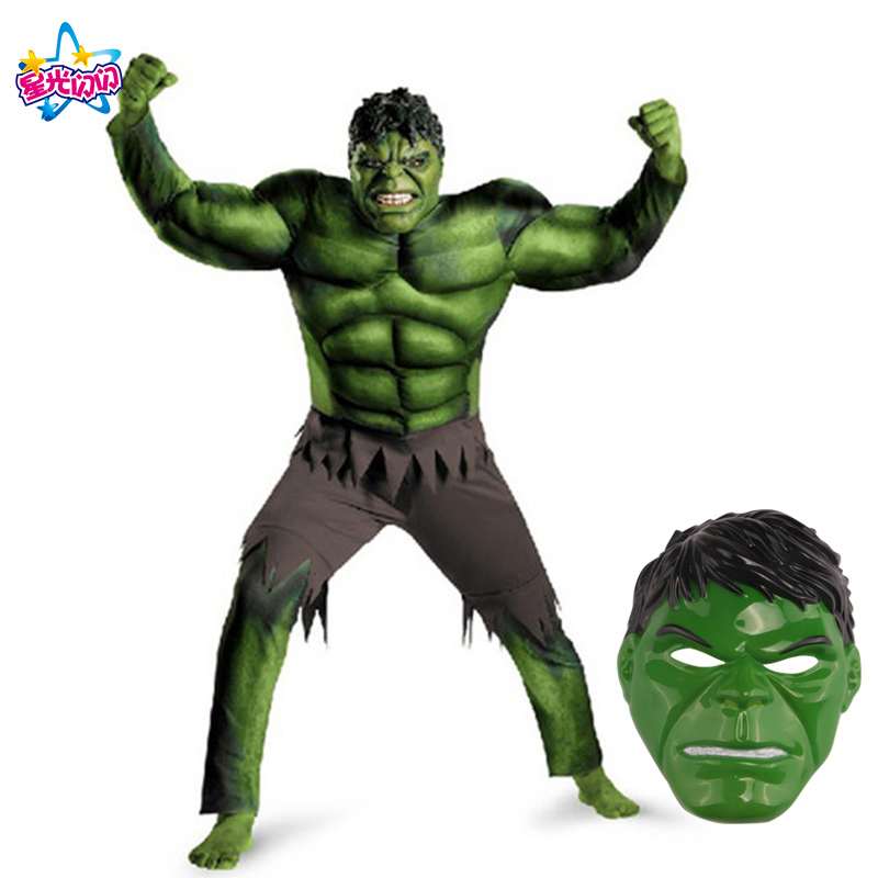 NoEnName Free shipping New Avengers Hulk Costumes for kids/ Fancy dress Carnival Party Cosplay For Kids Decorations Supplies