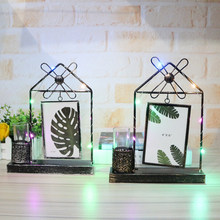 Fashion Photo Frame Home Decor Figurines Iron Gate Shaped Windmill Photo Frame With Light Hydroponics Ornament Wedding Gifts(China)