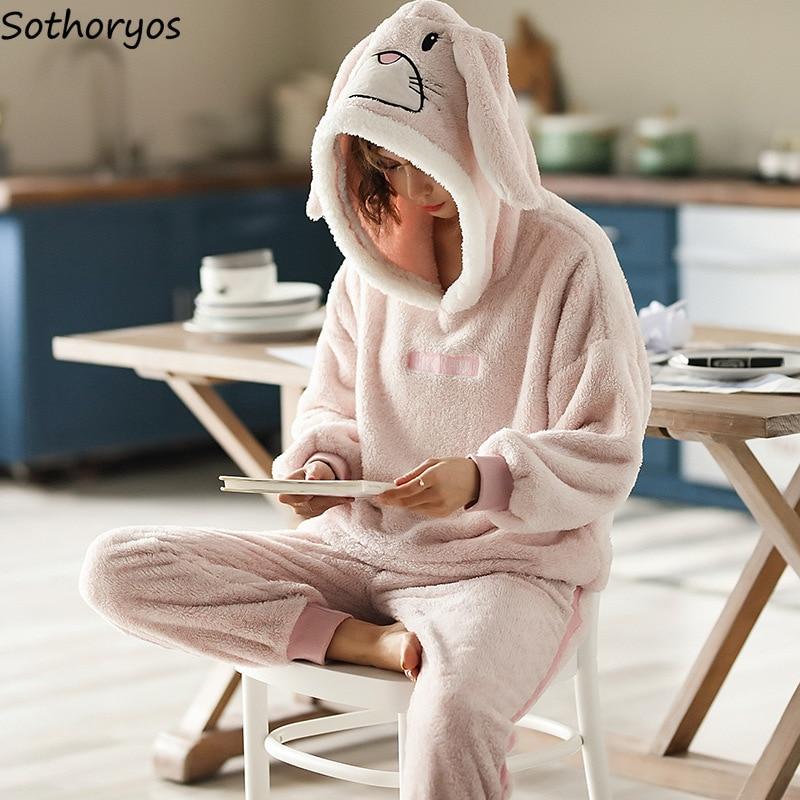 Image 2 - Pajama Sets Women Thicker Coral Fleece Hooded Cartoon Kawaii Warm Pajamas Womens Winter Two Pieces Homewear Soft Set Korean-in Pajama Sets from Underwear & Sleepwears